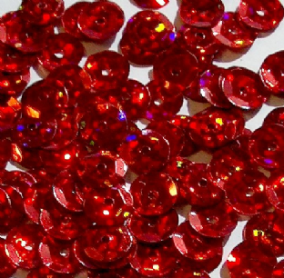 Value Pack 50g 8mm Hologram Red Semi-cupped Sequins.